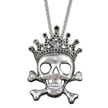 "[$5 Minimum]2017 New Women Men Jewelry Vintage Silver Tone Crown Skull Pendant 26"" Long Necklace DY260 Free Shipping"