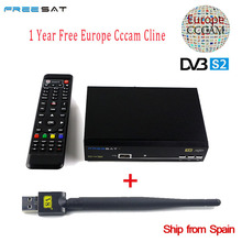 Freesat V8 Super DVB-S2 Satellite Receiver Full 1080P Italy Spain Arabic Cccam Cline With USB Wifi Biss Key PowerVu iptv cccam
