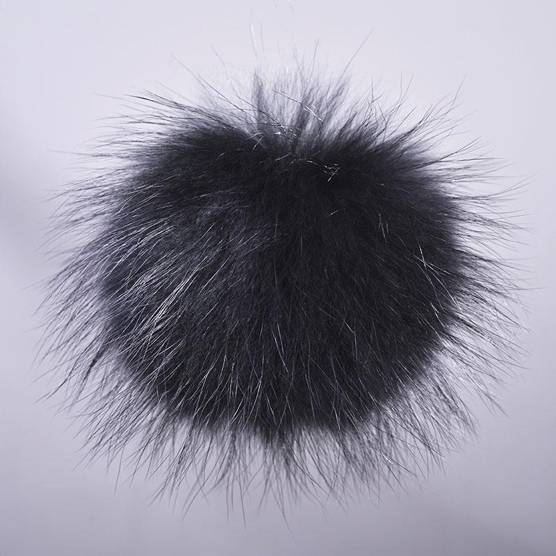 raccoon fur pompom black 1 1