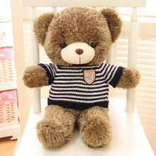 "Free Shipping 1pcs 60cm=23.6"" Blue Stripe Teddy Bear Stuffed animals Plush Toys for best gift"