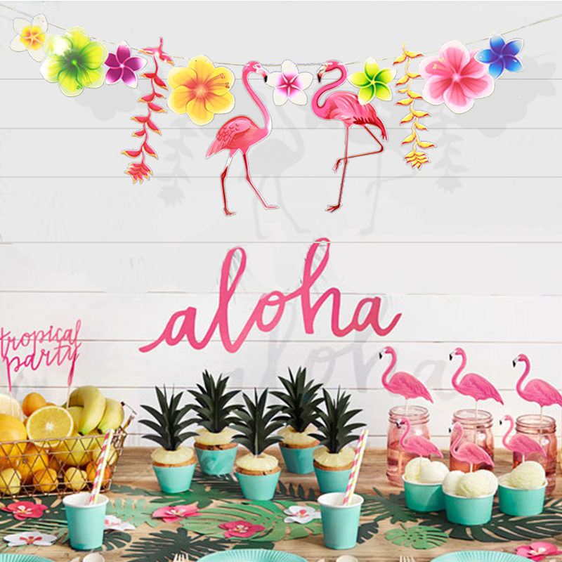 1st Birthday Flamingo Party Decoration Set First Baby Fiesta Balloon Tropical