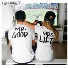 YEMUSEED H1038 New Design T Shirt Funny Mr. And Mrs. Couple Clothes Tshirt Women Short Sleeve Tops Tee Shirt Femme(China)