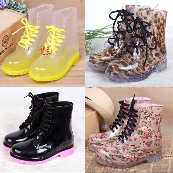 Free shipping 2014 PVC Transparent Colorful Crystal Clear Flats Heels Water Shoes Female Rainboot Martin Rain Boots women shoes<br><br>Aliexpress