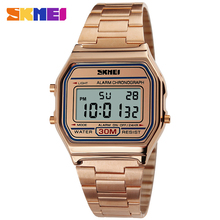 Top Luxury Golden Clock Female LED Digital Sport Watch Man Military Full Steel Waterproof Quatz Wristwatch SKMEI 1123
