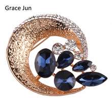 Grace Jun New Unique Alloy Material Brooches for Women Party  Fashion Austrial Crystal Brooch Pin Suit Lapel Jewelry Bijouterie