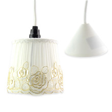 Newest E14 AC220-240V Modern Lampshade Fabric Lampshade Rustic Style With Lace Applique For Living Room Bedroom Decor Lighting