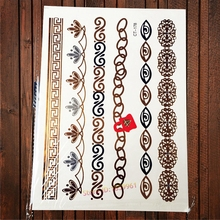 1PC Fashion Gold Chains Fake MEtallic Temporary Tattoo Stickers ACT-178 Women Henna Love Lock Bracelet 3D Eye Tattoo Arm Sleeve(China)