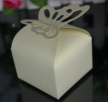 100pcs White/Beige/Pink/ Red /Purple/Navy Blue butterfly candy box favor box wedding favour box for girls boys birthday