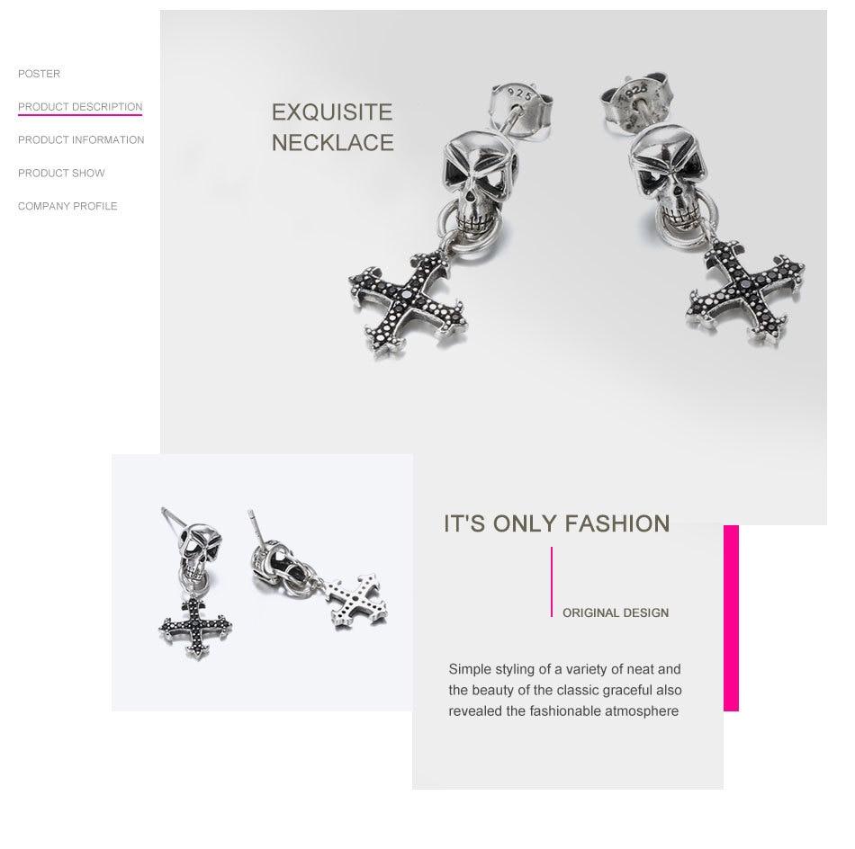 Say-You-Say-Me-925-Sterling-Skull-Earrings-Wholesale-Fashion-Black-Zircon-Cross-Earrings-Unisex-Best-T08