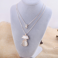 Drop Shipping 2016 New Arrival Charm Cat Necklace Opal Kitty Collar Sweater Chain for women