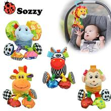 Baby Toy Soft Plush Elephant lion Monkey giraffe Crib Bed Hanging Animal Teether Baby Rattle Ring Bell Early Educational Doll(China)
