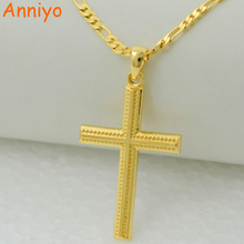 Anniyo women cross gold color charms pendant necklace men fashion christian jewelry factory wholesale crucifix god