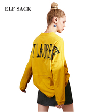 ELF SACK Spring Women Long Sleeve Tees Kpop Letter Embroidery Prints Loose Women High Collar Shirts Womens Streetwear Top Tshirt(China)