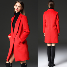 women winter coat 2017lady wool coat winter plus size red black wide-waisted single breasted top quality women wool coats jacket(China)