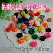 Mixed Color 16mm 100pcs/lot Flat Back ResinsCabochon Scrapbook, 3D Resin Rose Flower Fit Phone Embellishment DIY210217