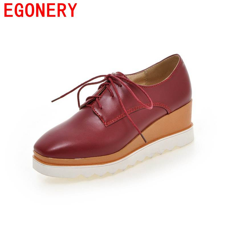 EGONERY platform shoes 2017 women square toe skid resistance campus fashion concise casual lace-up solid beige spring shoes<br>