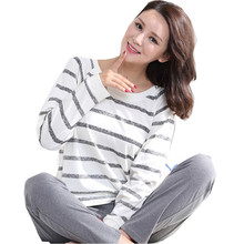 2016 Autumn Striped Pyjamas Cotton Couple Pajamas Set Women Sleepwear Pajama Sets Pijamas Mujer Lover Pyjamas Homewear Clothing(China)