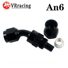 VR RACING - Black High Quality PTEF AN6 AN-6 45 DEGREE REUSABLE SWIVEL TEFLON HOSE END FITTING AN6 VR-SL6045-06-021