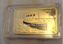 5pcs/lot Titanic Gold Bullion Bar coins, gold plating coin for 2013 new products, Free Shipping