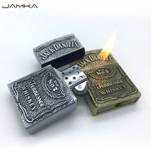 New Retro Bronze Metal Wheel Gas Cigarette Lighter Inflatable Butane Metal Fair Relief Lighters Best Gift With Box