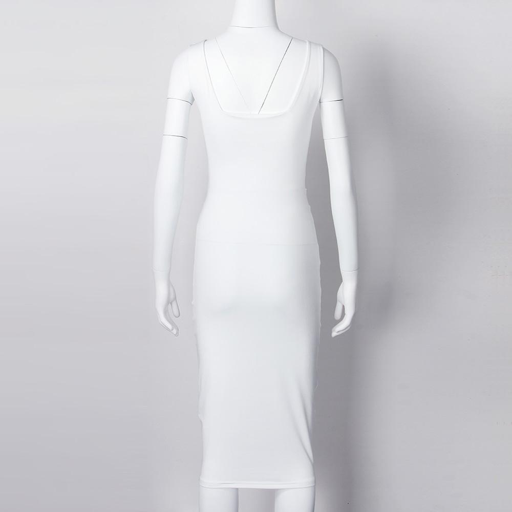 Women Summer Bodycon Dress 2018 Scoop Collar Sleeveless O-neck Sexy Midi Dresses Sheath Clubwear Femme Party Slim Dress GV575 13