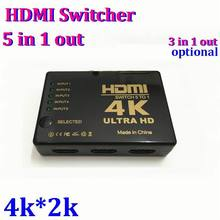 4K*2K 5 Port 1080P Video 5 to 1 HDMI Switch Switcher Splitter 5 IN 1 OUT For Apple HDTV PS3 PS4 DVD with IR Remote *100pcs/lot(China)