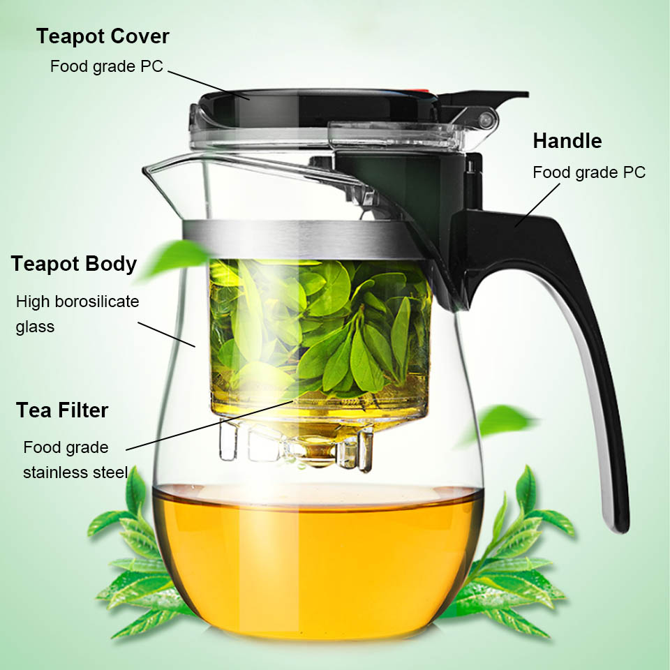 BORREY Heat Resistant Glass Teapot With Infuser Filter Chinese Kung Fu Puer Oolong Tea Teapot 500Ml Kamjove Tea Pot Water Kettle 3