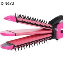 Three-in-one Hair Straightener Iron Tourmaline Ceramic Straightening Corrugation Board Curling Styling Tools Fries Hair Curlers
