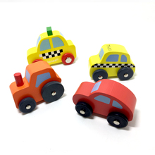 x063 Free shipping High quality mini car wooden educational toys combination rail urban transport bus taxi car 4pcs/lot