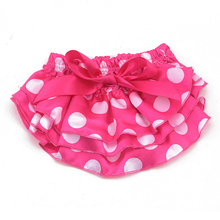 10pcs per lot Baby Infant Bloomer Pants girls Dots cute stain diaper cover Ruffled Panties Bowknot Skirts Culottes Pantskirts(China)