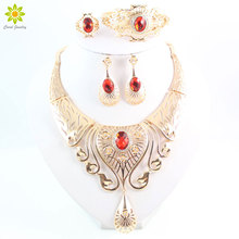 New Arrival Elegant Fashion Dubai Gold Color Vintage Women Nigerian Crystal Jewelry Sets African Beads Jewellery Costume