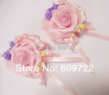 New 10pc Prom PU Handmade Boutonniere Bride Artificial Rose Pearl Corsage Wrist Flower Bracelet Wedding Church Decor Pink Fl1393