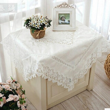 European Embroidery Lace Tea Table Cloth White Fashion Decor Tablecloth High-grade Lace Edge TV Tea Table Cover Free Shipping