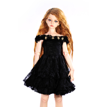 Dolls Accessories 1/4 BJD SD Dolls Dress Black Off Shoulder Party Gown Dress Birthday Gift for Girl Kid Toy Doll Clothes Collect