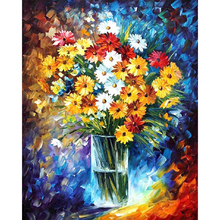 Frameless Still Life Flowers Daisy and vase image on canvas FULL DIY diamond painting cross stitch diamond embroidery mosaic(China)