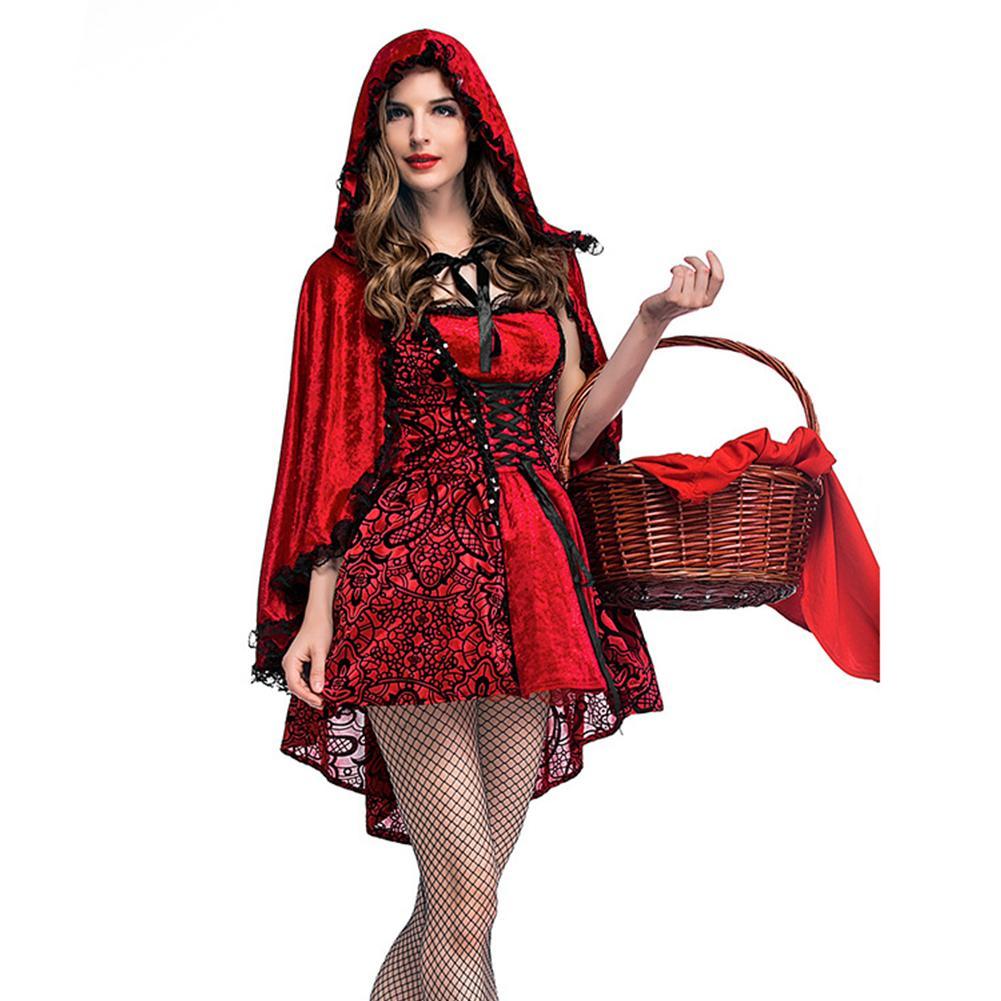 Little Red Riding Hood Blood Zombie Ladies Halloween Horror Fancy Dress Costume
