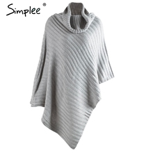 Simplee knitting poncho turtleneck sweater women Vintage cotton irregular pullover streetwear Winter sleeveless sweater jumper