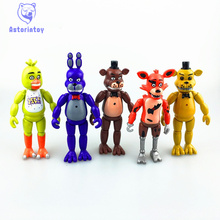 5 Pcs/ lot 5.5 Inch Five Nights At Freddy's PVC Action Figure Toy Foxy Gold Freddy Chica Freddy With 2 Color LED Lights
