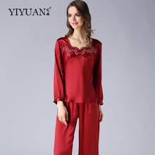 100% Natural Silk Pajamas Autumn Long-Sleeved Women Silk Sleepwear Embroidery Pyjama Sets Two-Piece Tops + Pants T77125