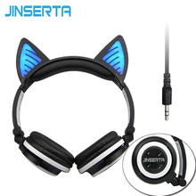 JINSERTA Fordable Cosplay Cat Ear Bluetooth Headphones Wireless Stereo Headsets earbuds with Mic for Phone Universal 3.5mm AUX(China)