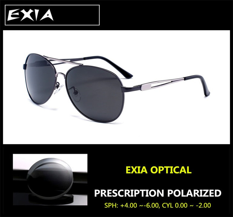 RX Sunglass Men Polarized Grey Anti-Reflective Green Coatings EXIA OPTICAL KD-612 Series<br><br>Aliexpress