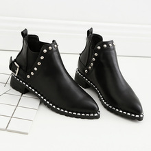 2017 New Retro Winter Women's Rivet Boots Studs Buckle Motorcycle Boots Stretch Slip On Pointed Toe Short Ankle Boots for Woman(China)