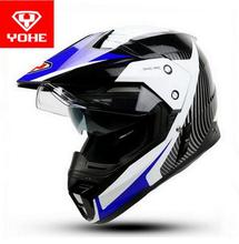 2017 New Fashion YOHE Cross-country Motorcycle helmet Double lens Off-road racing helmet winter motorbike helmets