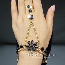 Fab Flower Black Crystal Bead Bracelet Gold Slave Chain Link Hand Harness Celebrity Runway Jewelry