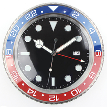 1piece Retail XL size Metal Watch Shape Wall Clock Calender Wall Clock with Date(China)