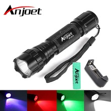 Anjoet Tactical  Hunting Flashlight XM-L T6/Q5 LED 1-Mode Multi-Color White/Green/Purple/Red Light Torch+18650 Battery+ Charger