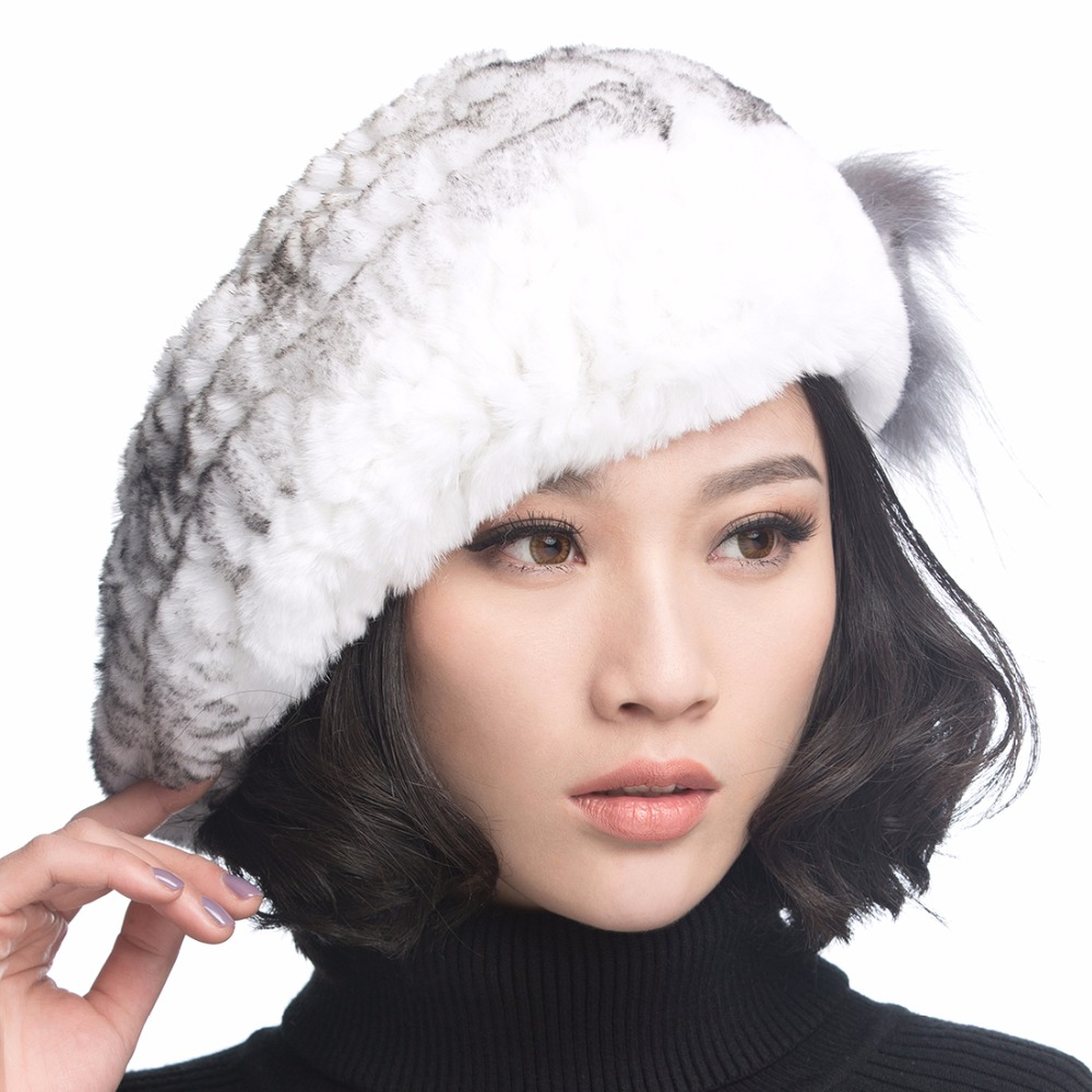 URSFUR Winter Womens Rex Rabbit Fur Beret Hats with Fur Flower Knitted Beanies Caps Fashion thick baseball hat MulticolorОдежда и ак�е��уары<br><br><br>Aliexpress