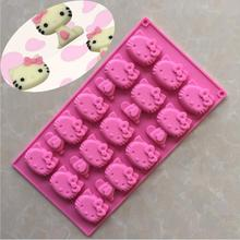 XIBAO 15 Holes Kt Cat Hello Kitty Silicone Chocolate Mold Jelly Pudding Cake Mold Mini Bakeware Pan