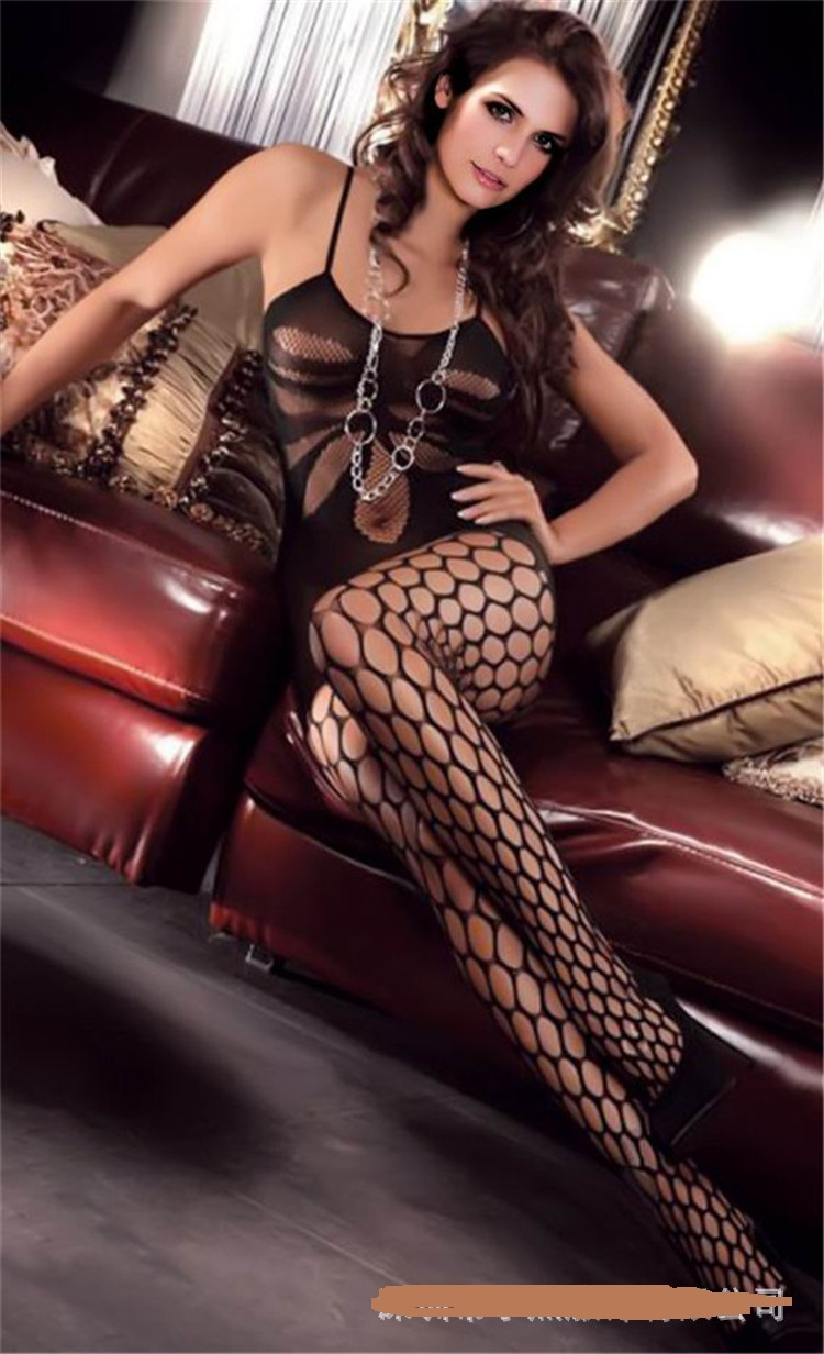 2016 new sexy erotica Women Sexy lingerie body Siamese socks Perspective Grid Black body suit Sexy underwear(China (Mainland))