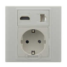 HDMI, RJ45 EU AC power wall plate and support DIY(China)